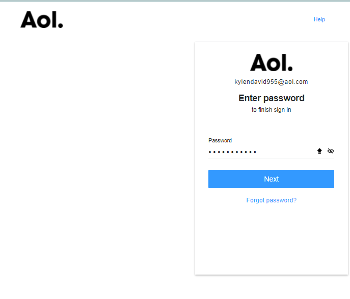 >enter the password of your AOL mail address