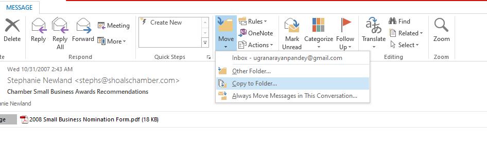 choose the Copy to Folder option